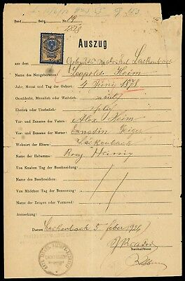 Judaica - 1926 excerpt of the Jewish Community in Lackenbach, with fiscal stamps