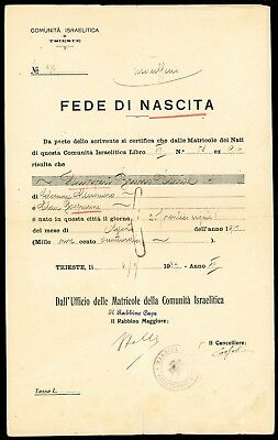 Judaica - 1934 proof of birth from the Jewish Community in Trieste