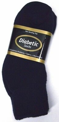 Diabetic Navy Blue Ankle Socks 3 Pair Women's Size 9-11 Made in USA