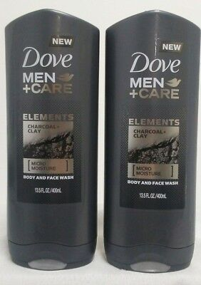 Lot Of 2 Dove Men + Care Elements Charcoal Clay Body & Face Wash Purify Dry Skin