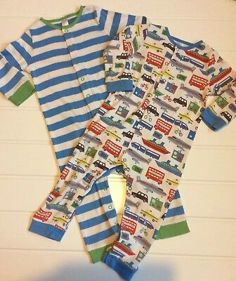 Baby Boden 18-24 Months Twin Pack Fun Rompers Sleepsuit Transport & Stripes