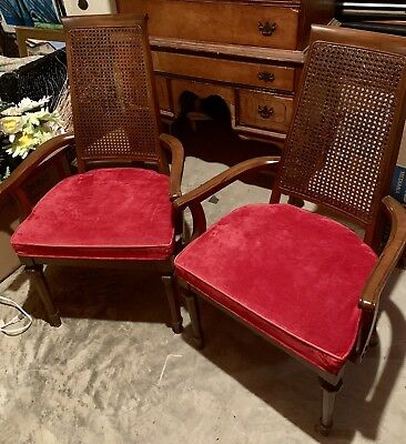 Set of 2 French Style Cane Weaved Back Chairs