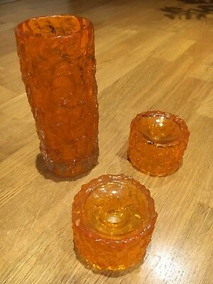 Whitefriars Textured Glass Bark Vase & 2 Candle Holders In Tangerine