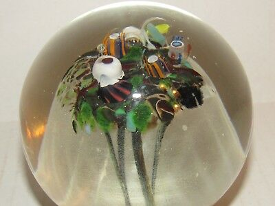 Murano Glass Milliefiori Paperweight Signed Dated Numbered Jellyfish Multi Color