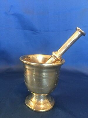 Antique Apothecary Heavy Polished Brass Footed Mortar And Pestle