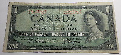 Canada 1954 One Dollar Note - V/A Prefix - Queen Elizabeth II