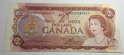 Canada 1974 Two Dollars Note - AGG Prefix - Queen Elizabeth II