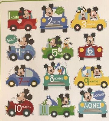 Disney Baby Mickey Mouse Milestone Belly Stickers, Baby Boy 1-12 Month Stickers