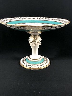 Antique Alford B Pearce London Porcelain Aquamarine & Gold Bolted Cake Stand W@W