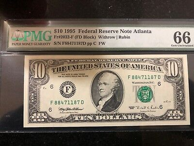 1995 $10 Federal Reserve Atlanta FW Note PMG GEM UNCIRCULATED 66EPQ