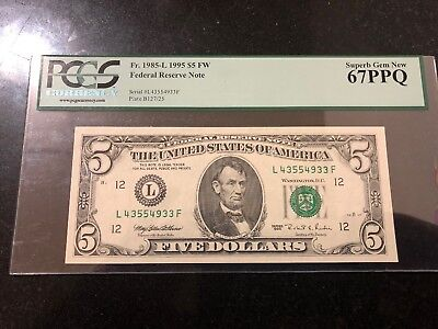 1995 $5 FEDERAL RESERVE  San Francisco FW NOTE PCGS SUPERB GEM NEW 67PPQ