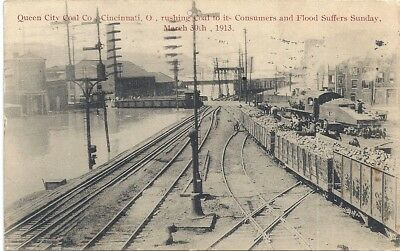 Cincinnati, Oh: 1913: Queen City Under Water From Great Flood: Railroad Cars