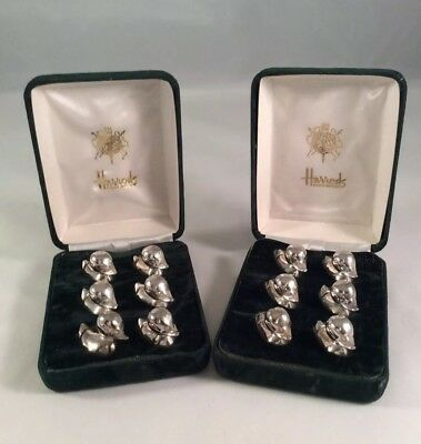 Vintage HARRODS 12 Silver Plated DUCK Place Card Holders (2 Boxed Sets Of 6)