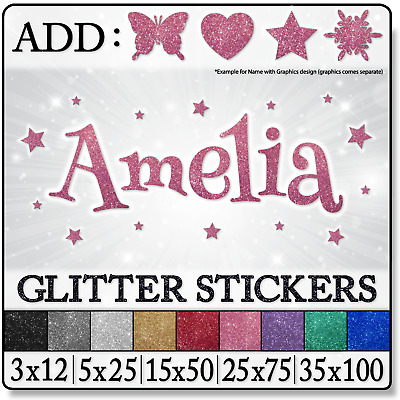 GLITTER Personalized NAME Baby Girl Princess Nursery Bedroom WALL Decals STICKER