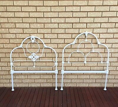 CAST IRON SINGLE BED Vintage With Rails