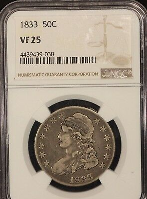 1833 50C Silver Capped Bust Half Dollar NGC VF 25 /038
