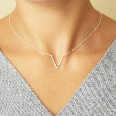 V-Shape Simple Necklace Minimal Geometric Delicate Woman Fashion Dainty