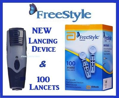 NEW ABBOTT FREESTYLE Lancing Device and Box 100 Lancets FreeStyle 28G