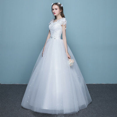 Lady Bride Bridesmaid Maxi White Wedding Dress Princess Lace Prom Ball Gown New