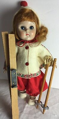 Vintage Vogue Ginny Doll MLW 1950s Red Ski Outfit Hat Shoes Skies & Poles #8