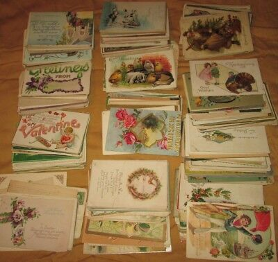 325 Antique HOLIDAY POSTCARDs 1907 Too CHRISTMAS,EASTER,ST PATRICK,BIRTHDAY,ETC