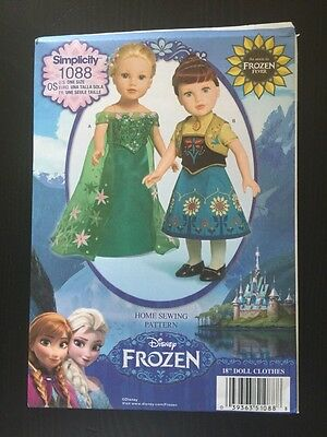 """Simplicity Sewing Pattern 1088 Clothes For 18"""" Dolls Disney Frozen Elsa Anna"""