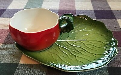 Holt Howard Tomato Cup and Lettuce Plate Set Vintage 1962 Hand Painted