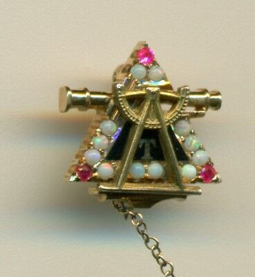 Vintage gorgeous Triangle engineer fraternity 14k gold opal ruby Kentucky pin!
