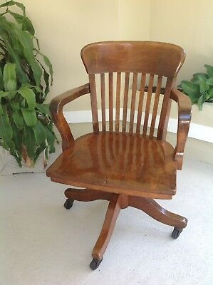 Vtg Antique Gunlocke Style Solid Maple Or Oak Wood Bankers Office Swivel Chair