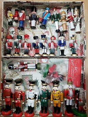 Lot of 26 Wooden Nutcracker Christmas Tree Ornaments, Assorted Ages, Vintage