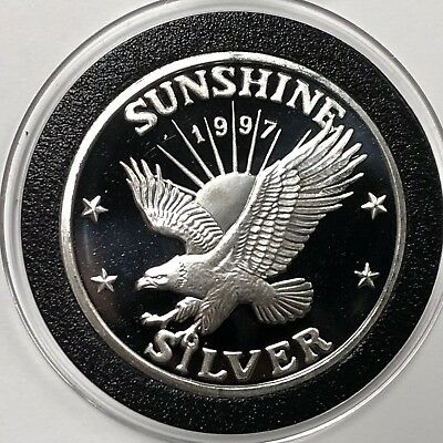 1997 Sunshine Mining Collectible Coin 1 Troy Oz .999 Fine Silver Round Medal 999