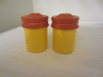 Lot of 2 KODAK Vintage ORANGE YELLOW Metal FILM CANISTER SD Card (2 TOTAL) #4299