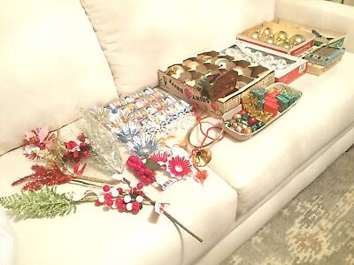 Lot Vintage Christmas Shiny Brite Ribbons Deer Creche Glass Ornaments