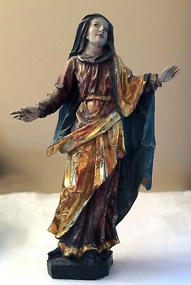 MADONNA Our Lady Antique Polychrome & Gilt Carved Wood Mary • Exquisite