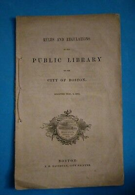 Old antique 1853 Boston Massachusetts Public Library rules & regulations booklet