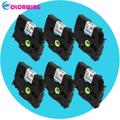 6 PK TZe231 tz tape Compatible Brother P Touch Label Tape 12mm Black on White