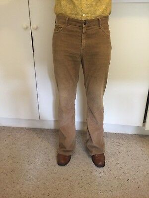 Flares / Bell bottoms / 1970s trousers - Beige / mustard brown. Mens