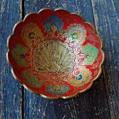 Nice Vintage Solid Brass & Enamel Engraved Peacock Small Footed Bowl Dish India