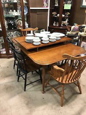 Vintage Hitchcock Stenciled Dining Table w/ Two Leafs & Four Stenciled Chairs
