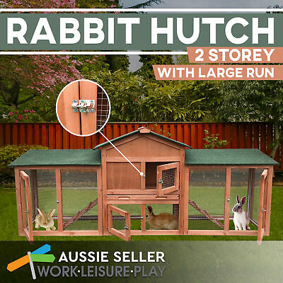 Large Rabbit Hutch Dual Use 2-Storey Chicken Coop Double Run Wooden Cage