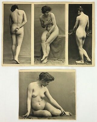 Early 19th Century Risque Nude Woman Female - 4 Poses 2 Photographs