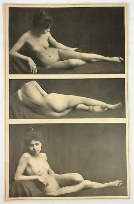 Early 19th Century B&W Risque Nude Woman Female - 3 Poses 1 Photograph