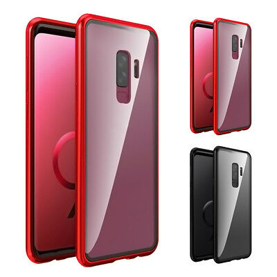 Magnetic Adsorption Metal Case For Samsung Galaxy S9 Luxury Clear Glass Cover