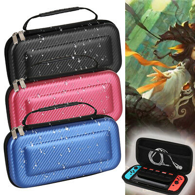 For Nintendo Switch Carrying Case Carbon Fiber Hard Shell Portable Pouch Bag