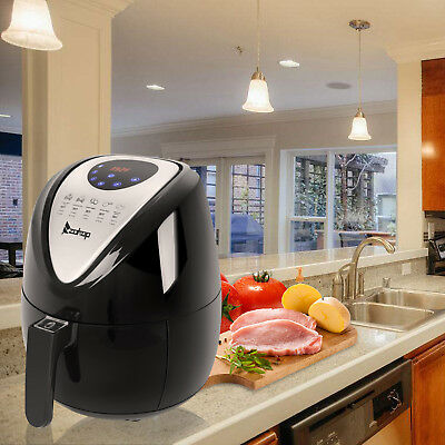 1500W Electric Air Fryer Low-Fat Touch Screen Control w/ 6 Cooking Presets Timer