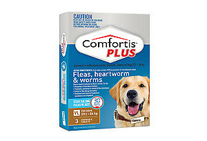 Comfortis Plus for Dogs Flea Heartworm Worm BROWN 27.1-54 kg  1,  3 Pack  6 Pack