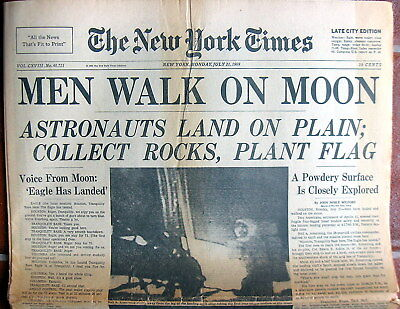 """NEW YORK TIMES """"MEN WALK ON MOON"""" July 21,1969 Complete Paper & Great Writers"""