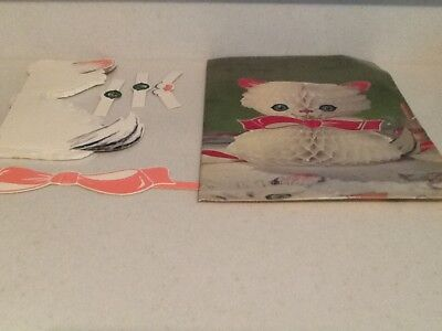 Vintage Honeycomb Cat Table Centerpiece NIOP Made In Japan-Paper Art