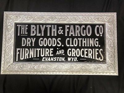 RARE Antique 1890's-1900's Blyth & Fargo Tin Metal Advertising Sign ORIGINAL