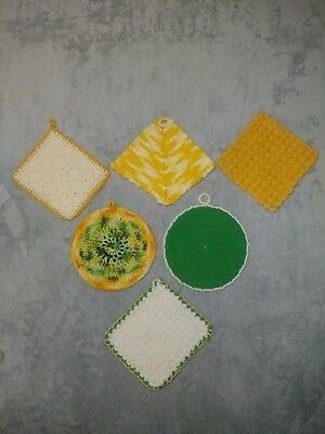 Set Of 6 Vintage Crocheted Green Gold White Hot Pads Pot Holders